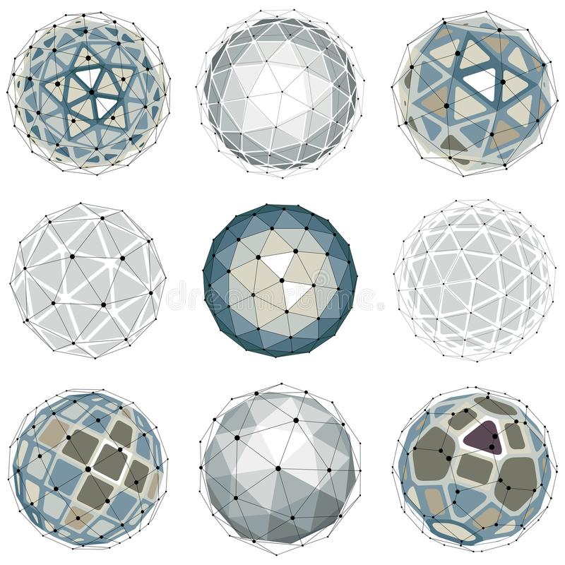 3d vector digital wireframe spherical objects made using different geometric facets. Polygonal orbs created with lines mesh. Low royalty free illustration