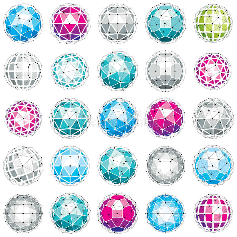 3d vector digital wireframe spherical objects made using different geometric facets. Polygonal orbs created with lines mesh. Low stock illustration