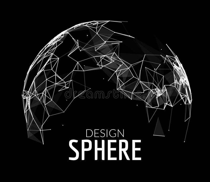 3d vector geometric background for business or science presentation. Line network polygon sphere. Abstract concept.  stock illustration