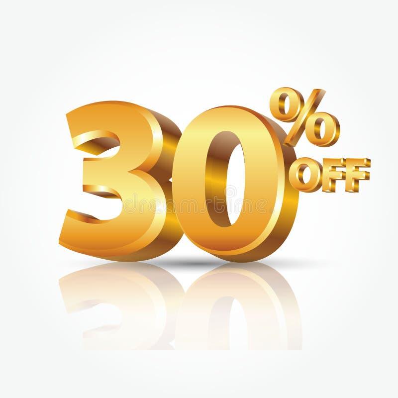 3d vector glanzende gouden 30 die percenten van tekst met bezinning op witte achtergrond wordt geïsoleerd vector illustratie