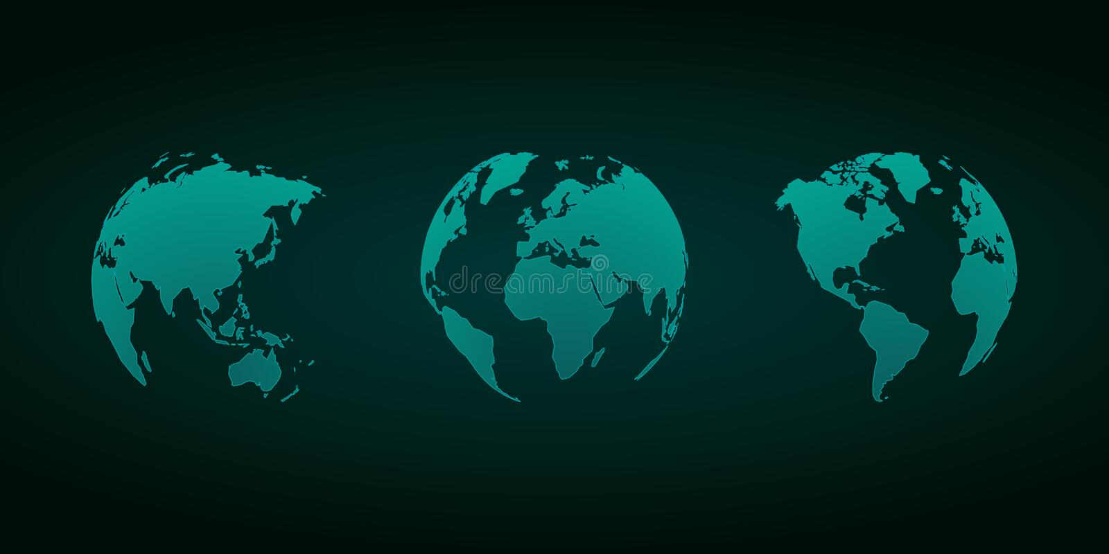 3D vector globes green set. Modern style royalty free illustration