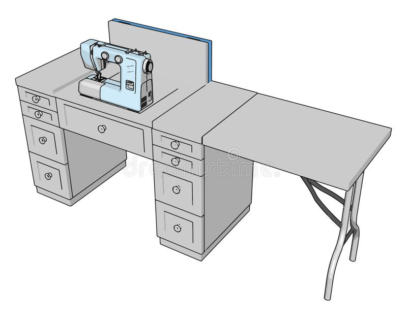 3D vector illustration of a sewing machine on a working table. White background stock illustration