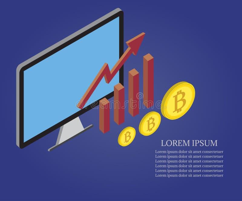 Bitcoin, growth chart, pc 2 vector illustration
