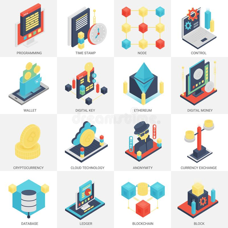 3d vector isometric Cryptocurrency mining and Blockchain icons set. vector illustration