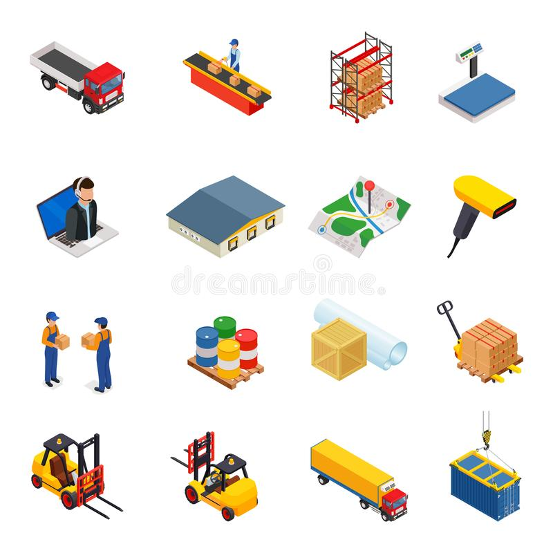 3D vector isometric warehouse,transportation, logistic and delivery icon set royalty free illustration