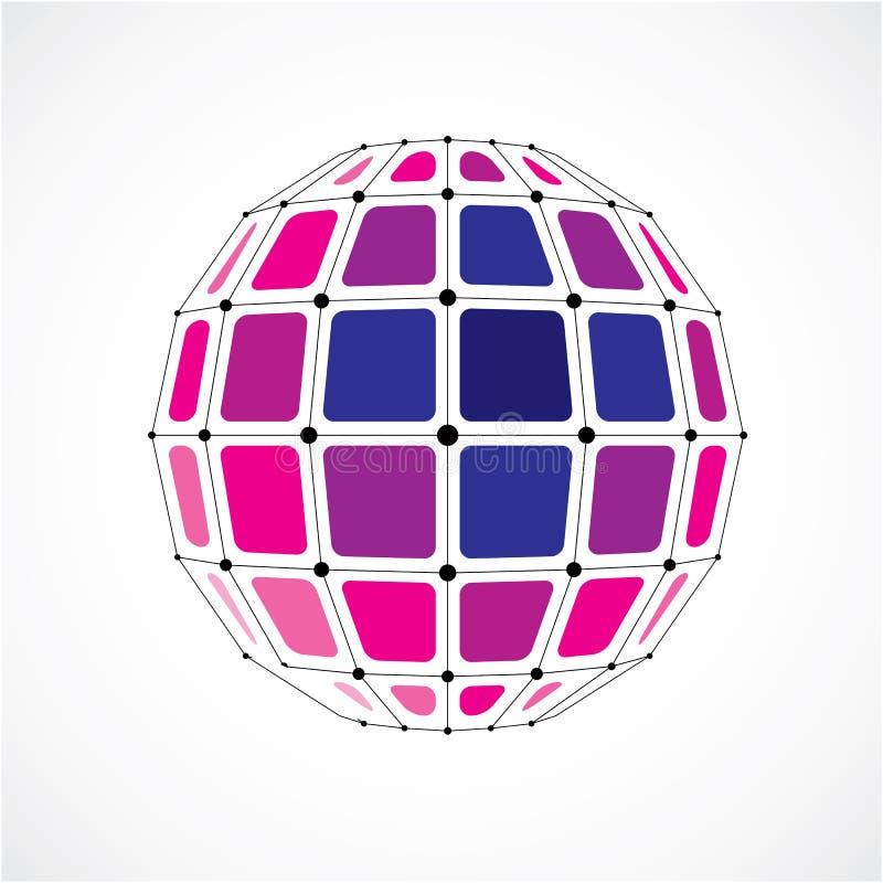 3d vector laag poly sferisch voorwerp met zwarte verbonden lijnen a vector illustratie