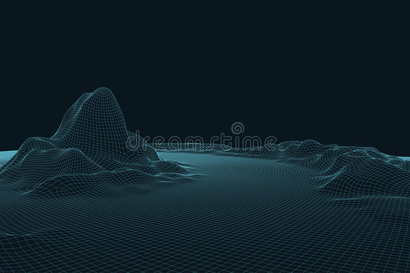 3D Vector landscape. Abstract digital landscape with particles dots and stars on horizon. Wireframe landscape background vector illustration
