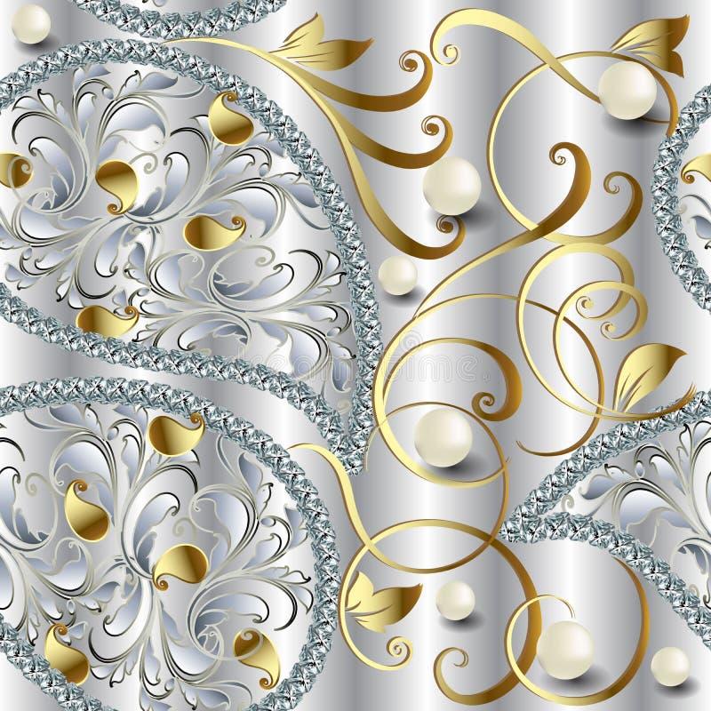 3d vector naadloze patroon van Juwelen overladen diamanten De uitstekende gouden bloemen van Paisley, lijnen, bladeren De halfede royalty-vrije illustratie