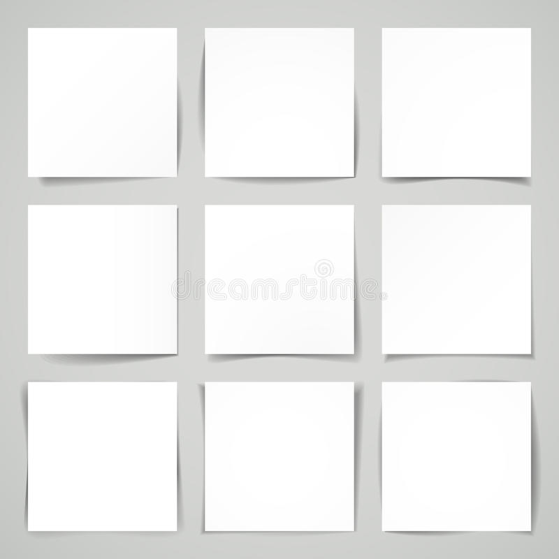 3d vector negen vierkanten van leeg document vector illustratie