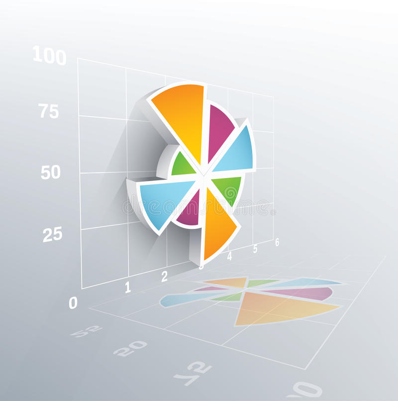 3d vector pie chart. With grid. Vector illustration royalty free illustration