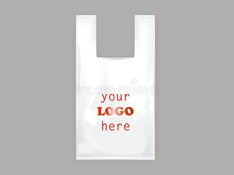 Vector realistic white plastic bag with handles vector illustration
