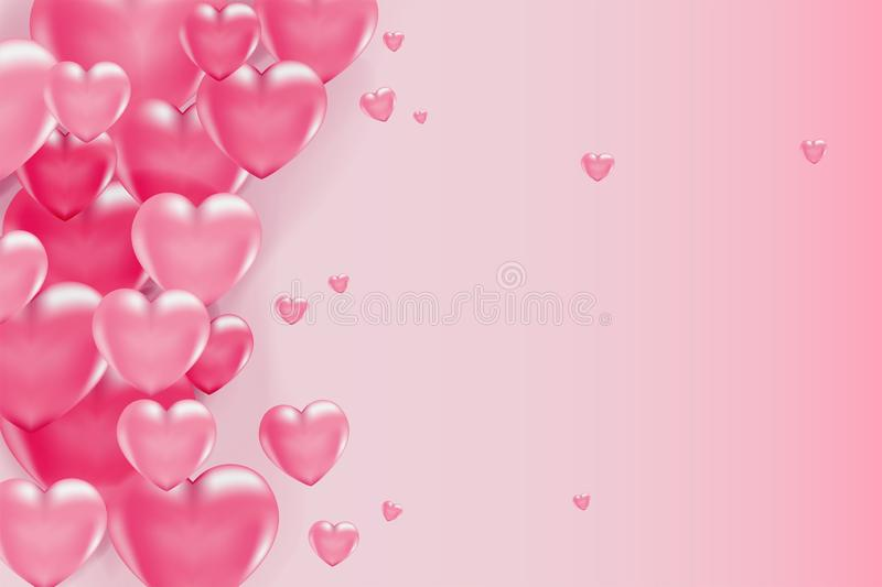 3d vector saint valentine s day pink heart and red dots banner or card on light background. Poster and invitation. 3d vector saint valentine s day pink heart and stock illustration
