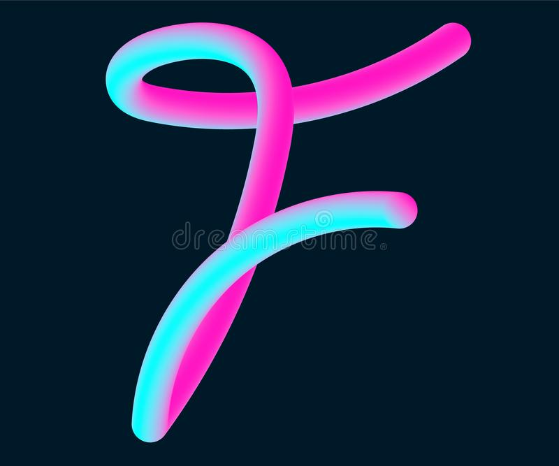 3d Vector Tube Of The Letter F Calligraphy Vector Illustration Stock Vector Illustration Of Cursive Blend 142261931