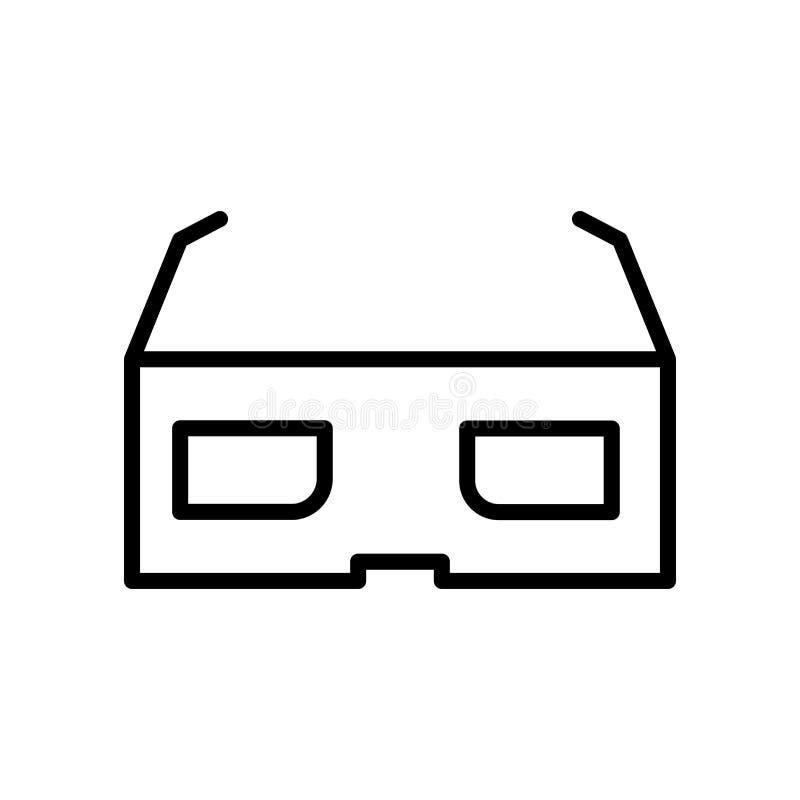 3d vector van het glazenpictogram op witte achtergrond, 3d glazenteken, lijn en overzichtselementen in lineaire stijl wordt geïso stock illustratie
