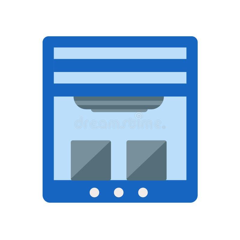 3d vector van het printerpictogram op witte achtergrond, 3d printerteken, de industriesymbolen wordt geïsoleerd dat royalty-vrije illustratie