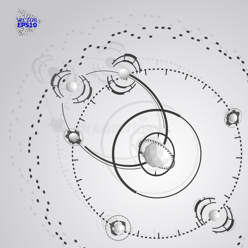 3d vectorachtergrond van de techniektechnologie Futuristisch technisch plan, mechanisme Zwart-wit mechanische regeling, dimension royalty-vrije illustratie