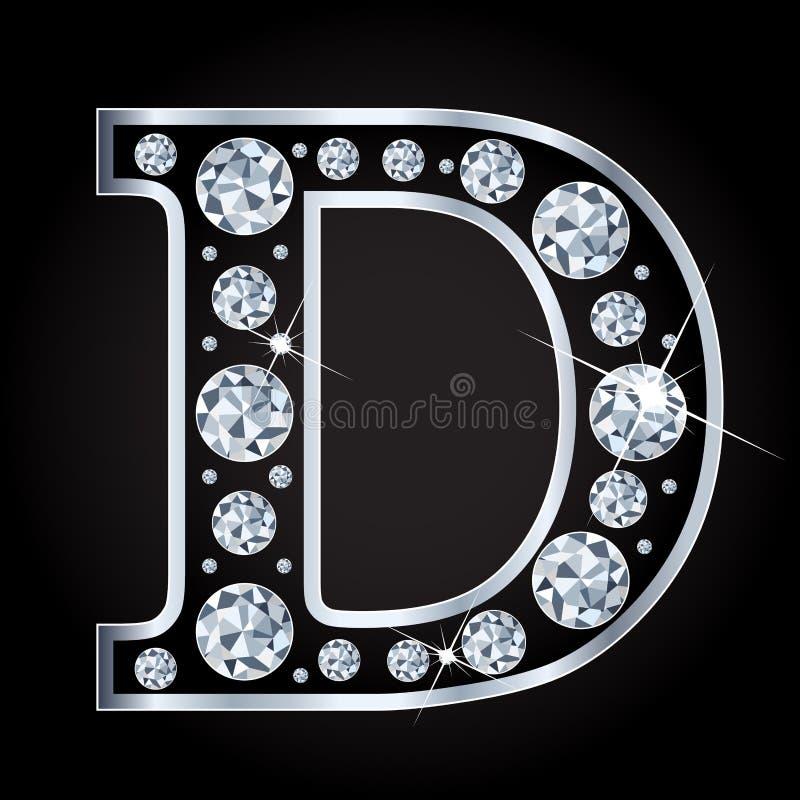 D vectordiebrief met diamanten wordt gemaakt op zwarte achtergrond worden geïsoleerd royalty-vrije illustratie