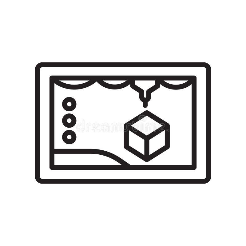 3d vectordieteken en het symbool van het printerpictogram op witte backgro wordt geïsoleerd royalty-vrije illustratie