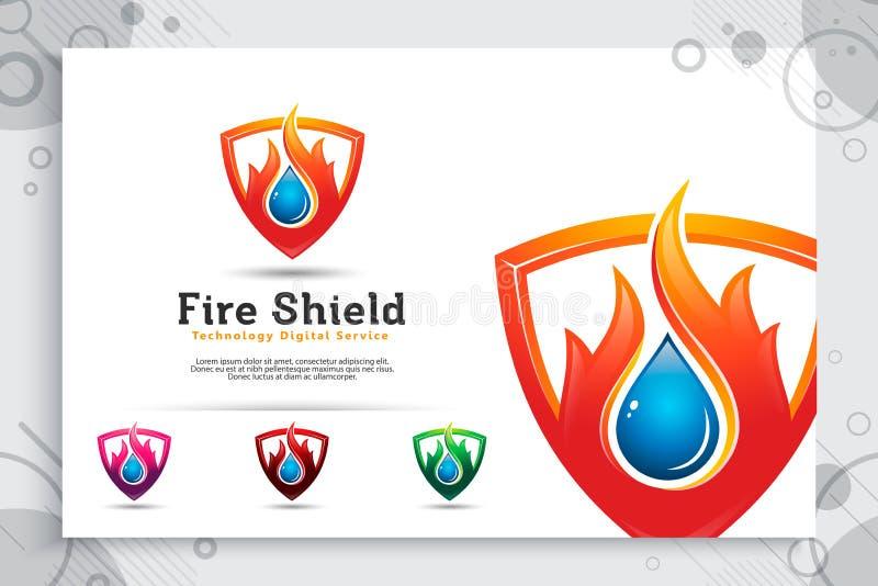 3d vectorembleem van het brandschild met modern concept als symbool van olie en gas, illustratie van olie en gas met schildgebrui stock illustratie