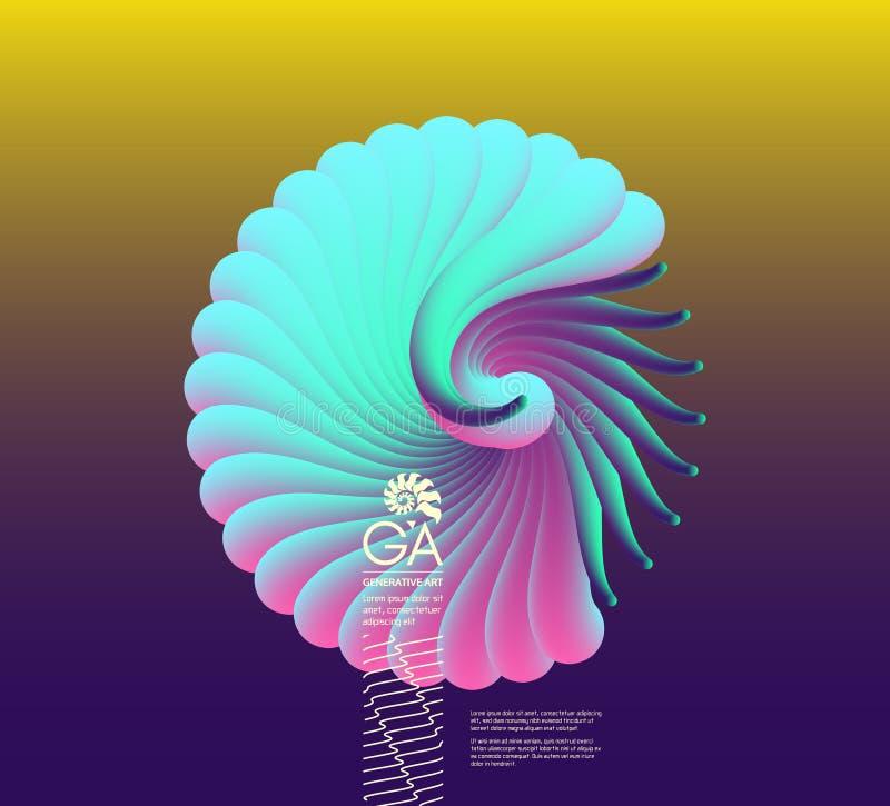 3D vectorillustratie met zeeschelpnautilus Voorwerp met vlotte vorm vector illustratie