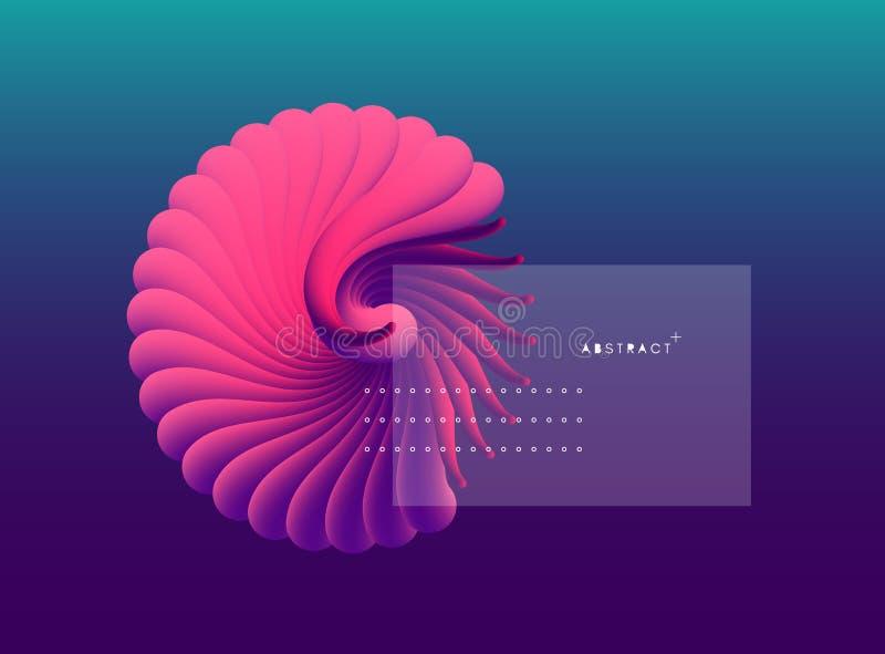 3D vectorillustratie met zeeschelpnautilus Voorwerp met vlotte vorm Kan voor reclame, marketing, presentatie worden gebruikt stock illustratie