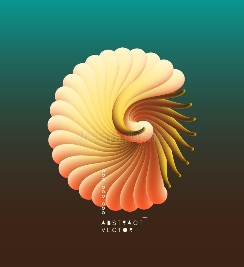 3D vectorillustratie met zeeschelpnautilus Voorwerp met vlotte vorm Kan voor reclame, marketing, presentatie worden gebruikt, royalty-vrije illustratie