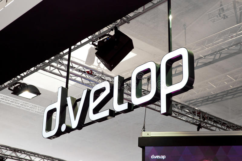 D.velop company logo sign on exhibition fair Cebit 2017 in Hannover Messe, Germany. stock photography