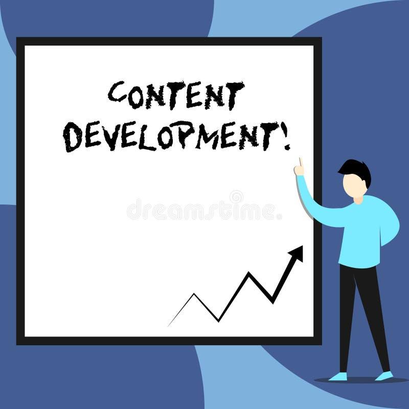 D?veloppement de contenu des textes d'?criture de Word Concept d'affaires pour spécialisé dans la vue de documentation de multimé illustration stock