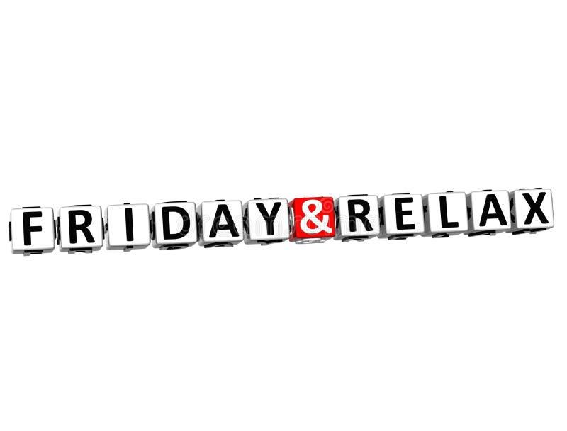 3D vendredi et détendent le texte de bloc de mots croisé sur le fond blanc illustration stock