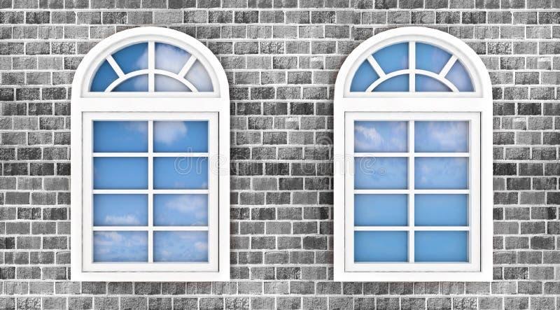 3d vensters op de bakstenen muur vector illustratie