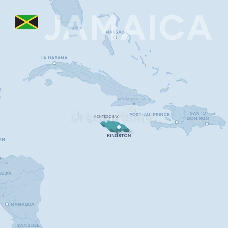 Verctor Map Of Cities And Roads In Jamaica Stock Vector