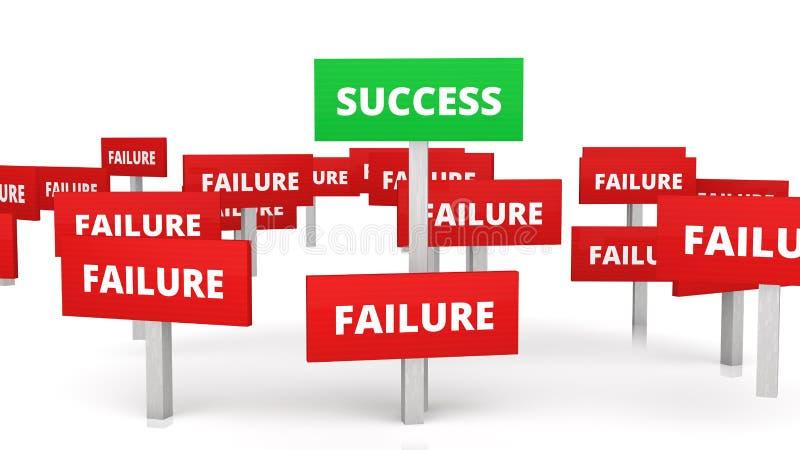 3d verdissent l'enseigne de succès parmi des beaucoup échec ceux illustration libre de droits