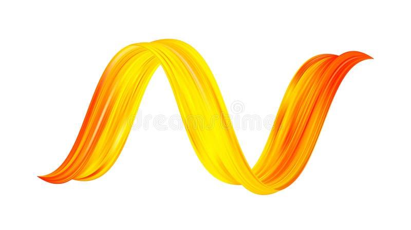 3d Verdraaide kleurrijke stroom vloeibare vorm Acryl gele verf sroke Modern ontwerp stock illustratie