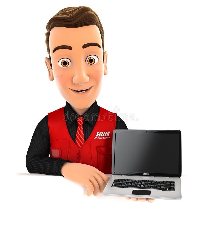3d verkoper achter laptop van de muurholding stock illustratie