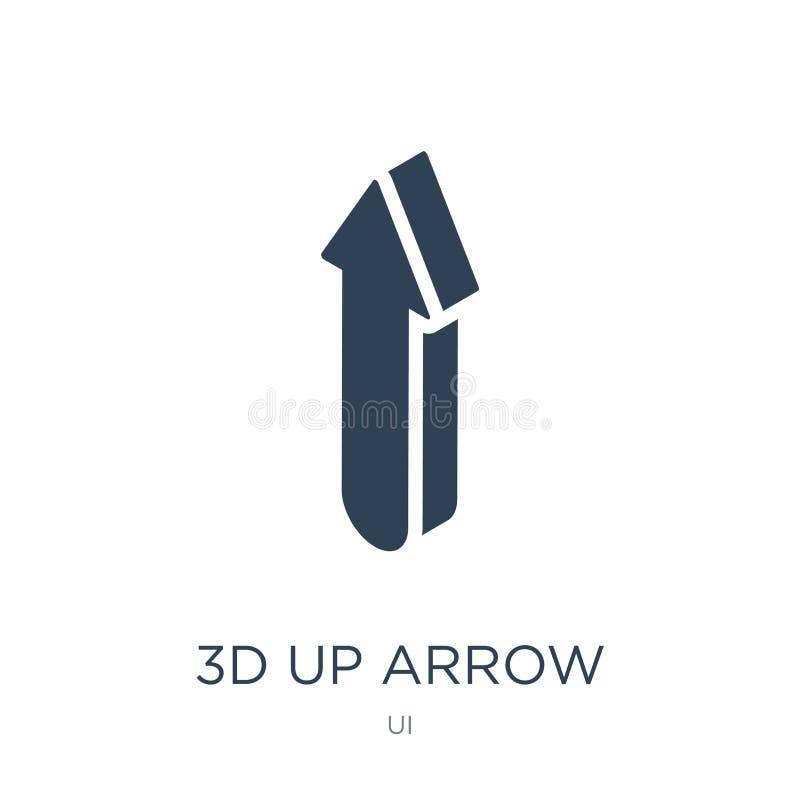 3d vers le haut d'icône de flèche dans le style à la mode de conception 3d vers le haut de l'icône de flèche d'isolement sur le f illustration de vecteur