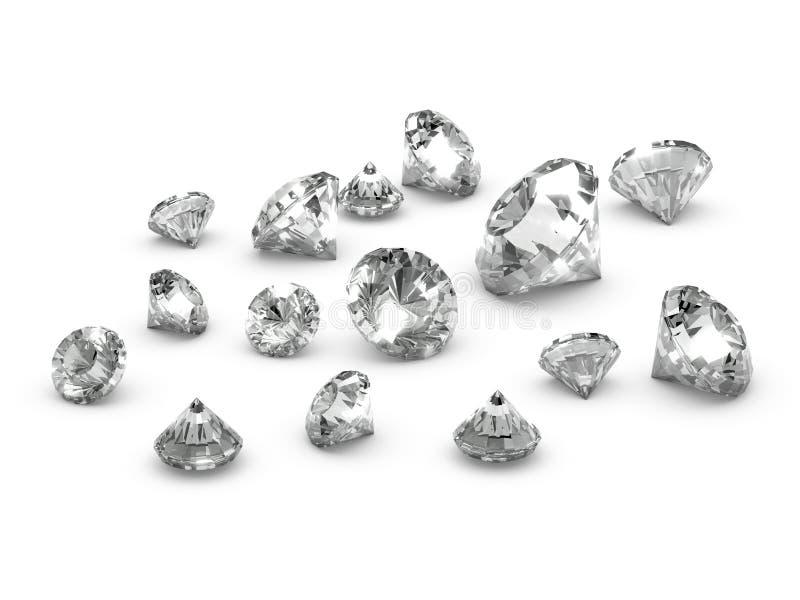 3d Verspreide diamanten stock illustratie