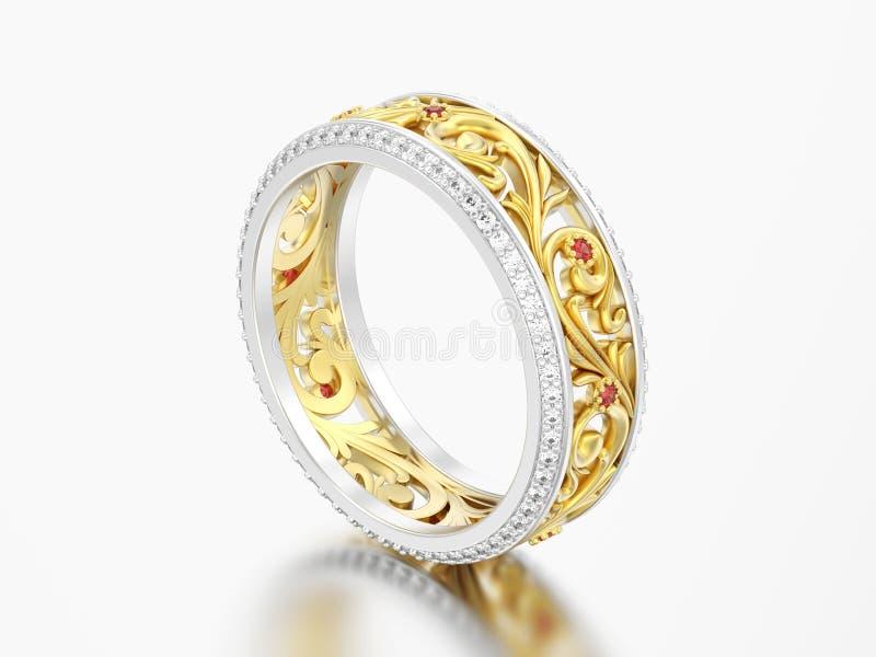 3D verstand van de de trouwringring van de illustratie gouden en zilveren overeenkomst stock illustratie