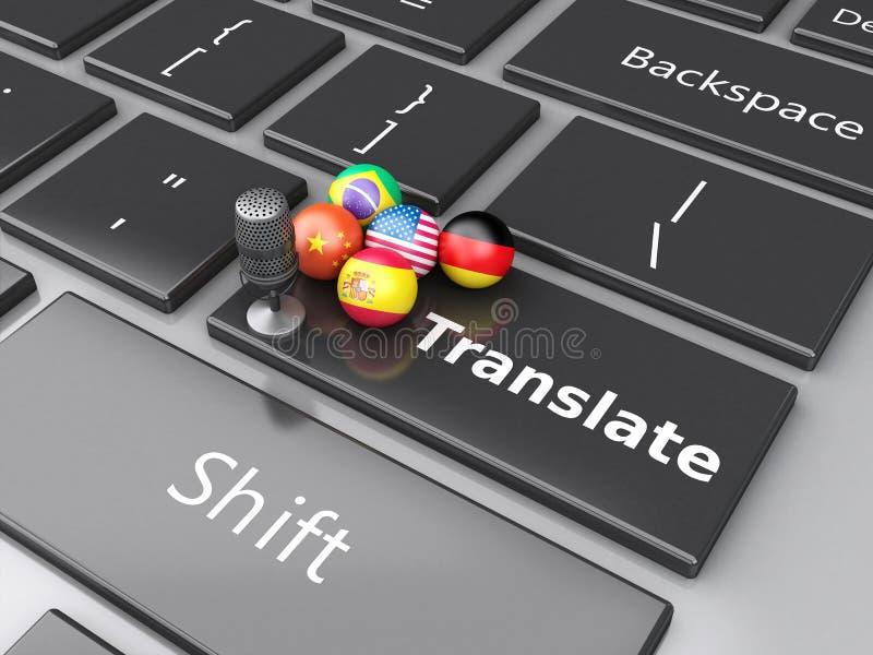 3d vertaal vreemde talen op computertoetsenbord stock illustratie