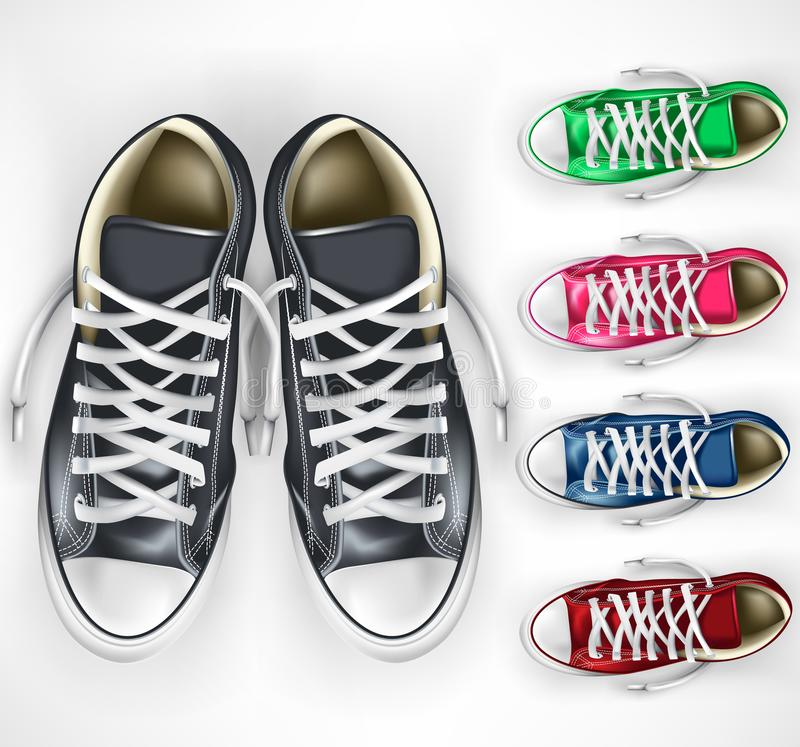 3D vetor realístico Mesh Pair das sapatilhas pretas mais as variações diferentes da cor ajustadas ilustração royalty free