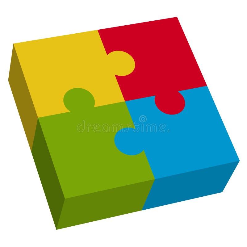 3D Vierkant van het Raadsel stock illustratie