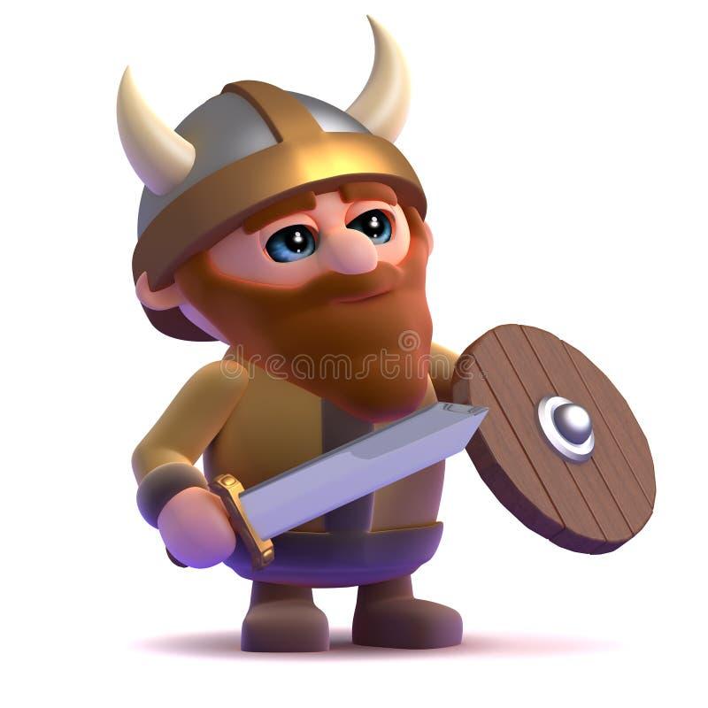 3d Viking se coloca listo stock de ilustración