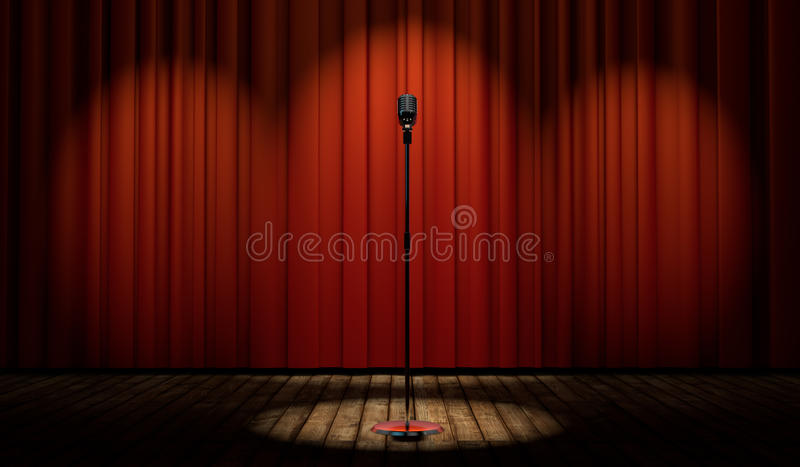 3d vintage microphone on stage with red curtain. 3d vintage microphone in spot light on stage with red curtain royalty free illustration