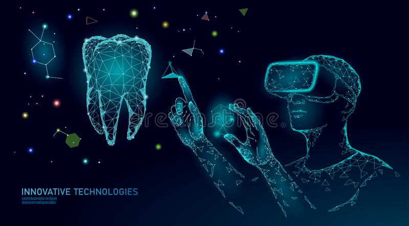 3d virtueel de werkelijkheids veelhoekig concept van de tandinnovatie De lage polydriehoek van het de stomatologiesymbool Abstrac vector illustratie