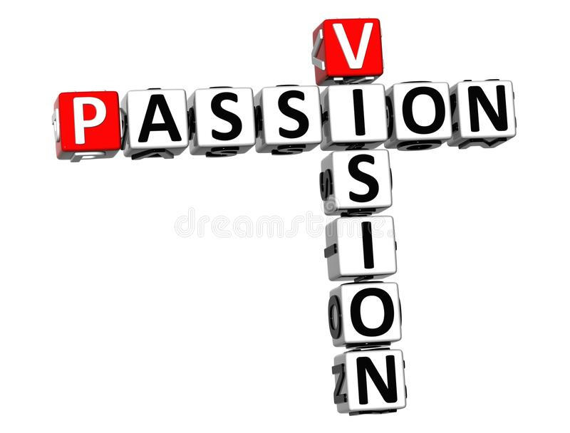 3D Vision Passion Crossword text vector illustration
