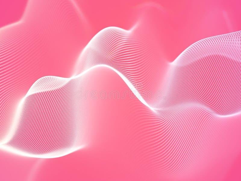 3D visualisatie van correcte golven Groot gegevens of informatieconcept: Witte grafiek vector illustratie