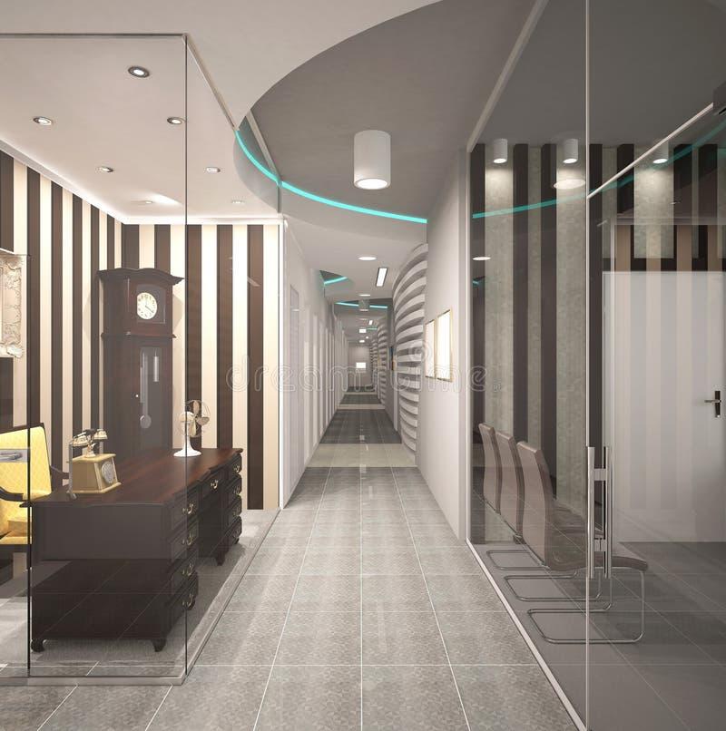 3D visualisatie van een bureau binnenlands ontwerp stock foto