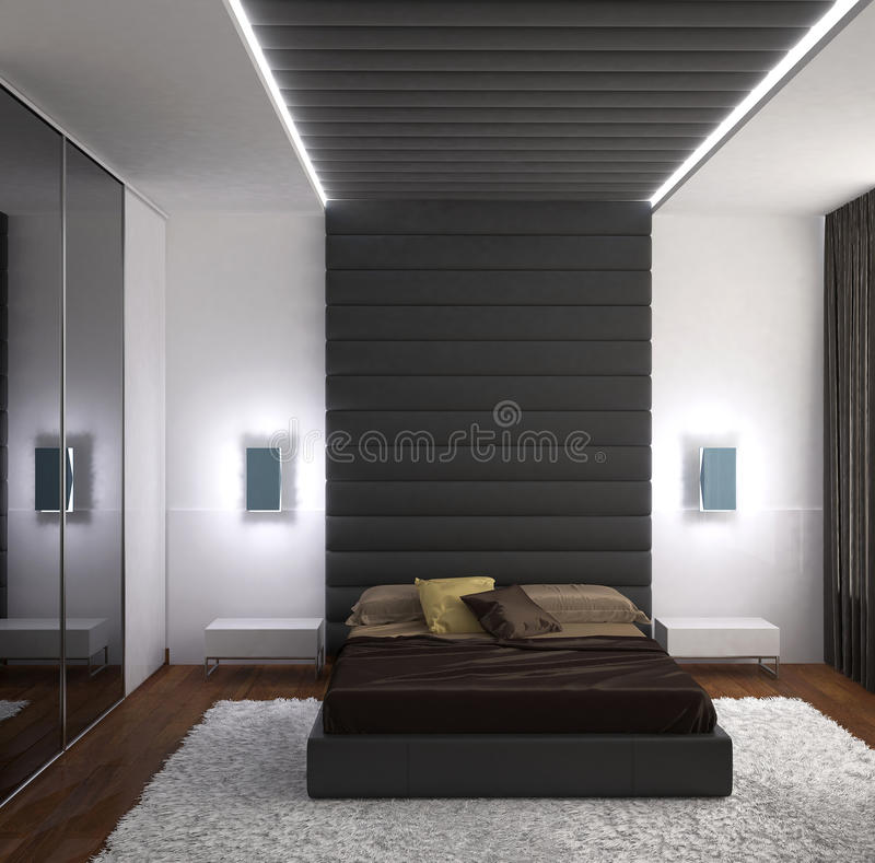 3D Visualisatie Van Een Slaapkamer Binnenlands Ontwerp Stock ...