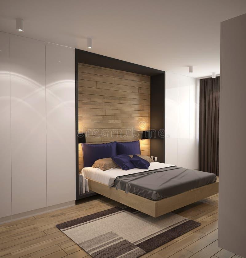 3D visualisatie van een slaapkamer binnenlands ontwerp stock afbeelding
