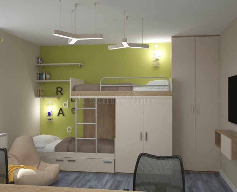 3D visualisatie van een slaapkamer binnenlands ontwerp royalty-vrije stock foto's