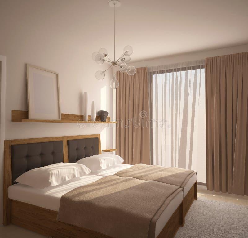 3D visualisatie van een slaapkamer binnenlands ontwerp stock foto's
